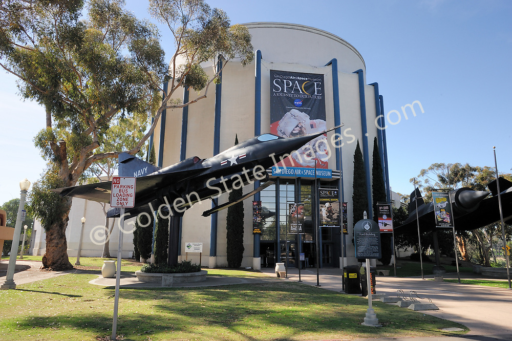 """Musuem Entrance featuring a Convair YF2Y-1 Seadart.<br /> <br /> """"In 1986 the Museum became the first aero-themed museum to be accredited by the American Association of Museums, and it is now a Smithsonian affiliate. <br /> <br /> The California Legislature voted to declare the Museum """"California's official Air and Space Museum and Education Center. <br /> <br /> Because of San Diego's contributions to aviation and aerospace history and technology, it is only fitting that the Museum is now recognized as one of the country's premier aerospace museums.""""<br /> <br /> In 2006, 2006 the Museum's name became San Diego Air & Space Museum.<br /> <br /> info taken from the official website."""