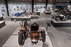 Fred's Speed and Sports' (f. 1978) Fred Cuba's Ghetto Cruiser custom Fatboy and sidecar in the More Mettle - Motorcycles and Art That Never Quit exhibition in the Buffalo Chip Events Center Gallery during the Sturgis Motorcycle Rally. SD, USA. Thursday, August 12, 2021. Photography ©2021 Michael Lichter.