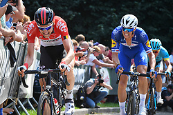 August 19, 2018 - Geraardsbergen, BELGIUM - Belgian Tim Wellens of Lotto Soudal and Czech Zdenek Stybar of Quick-Step Floors pictured in action at the Muur Kapelmuur during the final stage of the Binkcbank Tour cycling race, 209,5 km from Lacs de l'Eau d'Heure to Geraardsbergen, Belgium, Sunday 19 August 2018. BELGA PHOTO DAVID STOCKMAN (Credit Image: © David Stockman/Belga via ZUMA Press)
