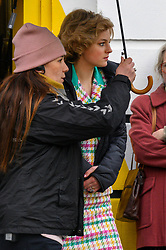© Licensed to London News Pictures. 08/02/2020. Manchester, UK. Actress Emma Corrin plays Diana, Princess of Wales as Manchester's Northern Quarter is transformed into New York for filming of a scene from Series 4 of The Crown. The Netflix series has been filming a scene where Princess Diana visited Henry Street Settlement in New York during her official visit in February 1989. Photo credit: Stephen Cottrill/LNP