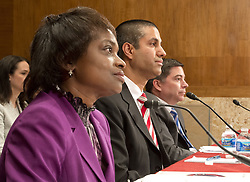 June 20, 2017 - Washington, District of Columbia, United States of America - From left to right: Mignon Clyburn, Commissioner.Federal Communications Commission (FCC); Ajit Pai, Chairman, FCC; and Michael O'Rielly, Commissioner, FCC, appear before the United States Senate Committee on Appropriations Subcommittee on Financial Services and General Government to examine proposed budget estimates and justification for the fiscal year 2018 FCC budget request on Capitol Hill in Washington, DC on Tuesday, June 20, 2017..Credit: Ron Sachs / CNP (Credit Image: © Ron Sachs/CNP via ZUMA Wire)