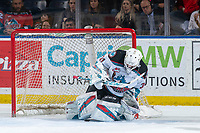 KELOWNA, BC - JANUARY 11: Cole Schwebius #31 of the Kelowna Rockets makes a first period save against the Kamloops Blazers at Prospera Place on January 11, 2020 in Kelowna, Canada. (Photo by Marissa Baecker/Shoot the Breeze)