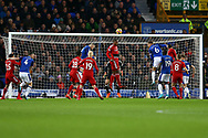 Christian Kabasele of Watford heads clear. as Wayne Rooney of Everton attempts to score.  Premier league match, Everton vs Watford at Goodison Park in Liverpool, Merseyside on Sunday 5th November 2017.<br /> pic by Chris Stading, Andrew Orchard sports photography.