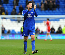 Sean Morrison of Cardiff City thanks fans after the final whistle  - Mandatory by-line: Nizaam Jones/JMP - 17/02/2018 -  FOOTBALL - Cardiff City Stadium - Cardiff, Wales -  Cardiff City v Middlesbrough - Sky Bet Championship