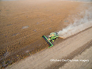 63801-09610 Soybean Harvest, John Deere combine harvesting soybeans - aerial - Marion Co. IL