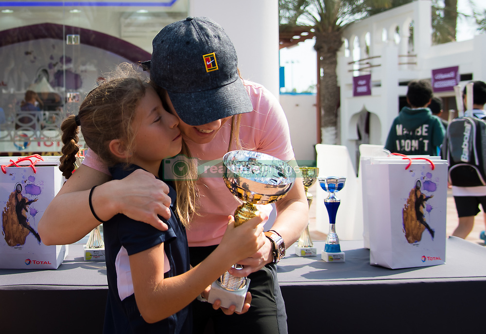 February 12, 2019 - Doha, QATAR - Simona Halep of Romania meets fans at the Total Booth at the 2019 Qatar Total Open WTA Premier tennis tournament (Credit Image: © AFP7 via ZUMA Wire)