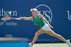 August 19, 2018 - Mason, Ohio, USA - Simona Halep (ROU) reaches for a shot at the corner during Sunday's final round of the Western and Southern Open at the Lindner Family Tennis Center, Mason, Oh. (Credit Image: © Scott Stuart via ZUMA Wire)