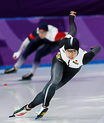 February 18, 2018 - Gangneung, South Korea - Speed skater NAO KODAIRA of Japan competes against KAROLINA ERBANOVA of Czech Republic during the Ladies Speed Skating 500M finals and wins the gold medal at the PyeongChang 2018 Winter Olympic Games at Gangneung Oval. (Credit Image: © Paul Kitagaki Jr. via ZUMA Wire)