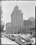 """Jackson Tower, Yamhill & Broadway"" (looking east on Yamhill) July 1, 1950"