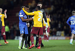 Bradford City's Aaron Mclean shakes hands with Peterborough United's Britt Assombalonga at full-time  - Photo mandatory by-line: Joe Dent/JMP - Mobile: 07966 386802 18/04/2014 - SPORT - FOOTBALL - Bradford - Valley Parade - Bradford City v Peterborough United - Sky Bet League One