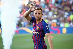 August 15, 2018 - Barcelona, Spain - Arthur during the presentation of the team 2018-19 before the match between FC Barcelona and C.A. Boca Juniors, corresponding to the Joan Gamper trophy, played at the Camp Nou, on 15th August, 2018, in Barcelona, Spain. (Credit Image: © Joan Valls/NurPhoto via ZUMA Press)