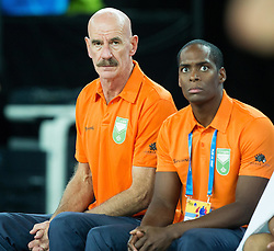 Toon van Helfteren, head coach of Netherlands and his assistant Sam Jones during basketball match between Netherlands and Macedonia at Day 2 in Group C of FIBA Europe Eurobasket 2015, on September 6, 2015, in Arena Zagreb, Croatia. Photo by Vid Ponikvar / Sportida