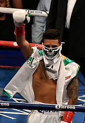6-9-18. Los Angeles, CA. Abner Mares makes his way to the ring at Staples Center Saturday. Leo Santa Cruze  took the win by  unanimous decision over Abner Mares for the WBA featherweight title and WBC diamond tile on showtime. Photo by Gene Blevins/LA DailyNews/SCNG/ZumaPress (Credit Image: © Gene Blevins via ZUMA Wire)