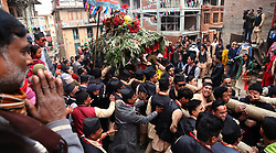 December 17, 2018 - Kathmandu, Nepal - Hindu devotees carry the deity of Indrayani during a ritual procession of Indrayani festival in the ancient city of Kirtipur in the Kathmandu, Nepal for prosperity and welcoming the winter season. (Credit Image: © Archana Shrestha/Pacific Press via ZUMA Wire)