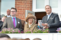 NEWBURY, ENGLAND 26TH NOVEMBER 2016: Left to right, Ewan Venters, HRH The Duchess of Cornwall and the Hon.Harry Herbert at Hennessy Gold Cup meeting Newbury racecourse Newbury England. 26th November 2016. Photo by Dominic O'Neill
