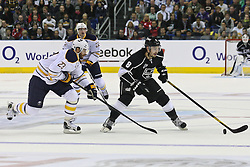 08.10.2011, o2-World Berlin, GER, NHL, Buffalo Sabres vs Los Angeles Kings im Bild Drew Doughty (Los Angeles Kings #8) und Ville Leino (Buffalo Sabres #23)   // during the game  Buffalo Sabres vs Los Angeles Kings on 2011/10/08, o2-World Berlin, Germany. EXPA Pictures © 2011, PhotoCredit: EXPA/ nph/  Hammes       ****** out of GER / CRO  / BEL ******