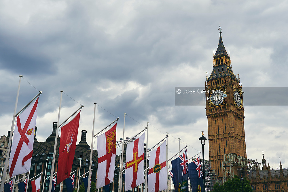 attends a Dinner hosted by Sadiq Khan, Mayor of the City of London, in honor of Spanish Royals at Guildhall on July 13, 2017 in London.