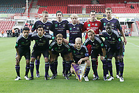 Football - UEFA Champions League 3rd Qualifying Round - The New Saint's vs. Anderlecht<br /> Anderlecht line up before kick off at the Racecourse Ground, Wrexham