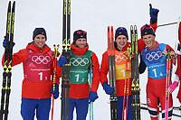 PYEONGCHANG,SOUTH KOREA,18.FEB.18 - OLYMPICS, NORDIC SKIING, CROSS COUNTRY SKIING - Olympic Winter Games PyeongChang 2018, 4 x 10km Relay, men. Image shows Didrik Tønseth, Martin Johnsrud Sundby, Simen Hegstad Krueger and Johannes Hoesflot Klæbo (NOR). <br /> <br /> Norway only