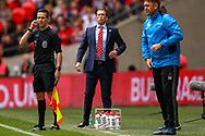 Leyton Orient manager Justin Edinburgh during the FA Trophy final match between AFC Flyde and Leyton Orient at Wembley Stadium on 19 May 2019.