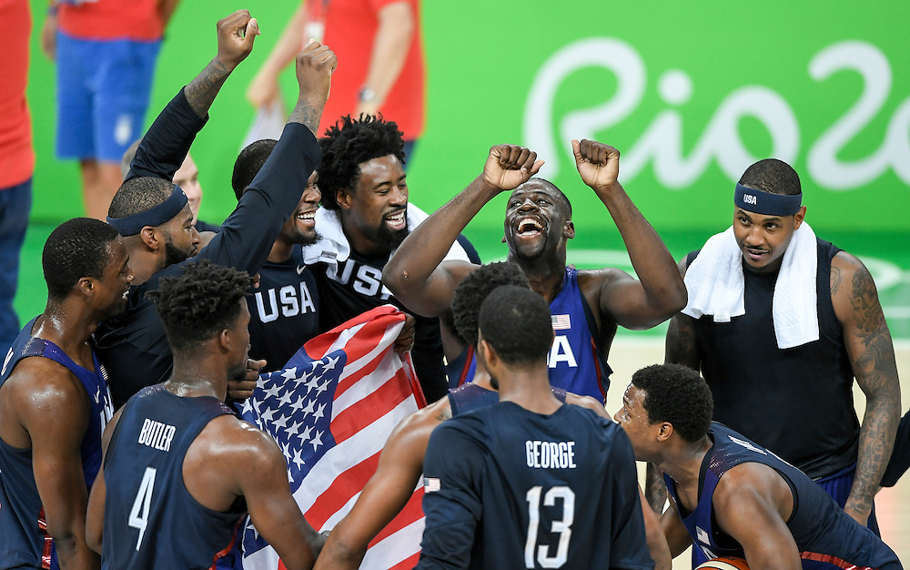 The United States men's basketball team, including DeAndre Jordan, center, Draymond Green, second from right, and Carmelo Anthony, right, celebrated their gold medal victory over Serbia, 96-66, on Sunday at Carioca Arena 1 during the 2016 Summer Olympics Games in Rio de Janeiro, Brazil.