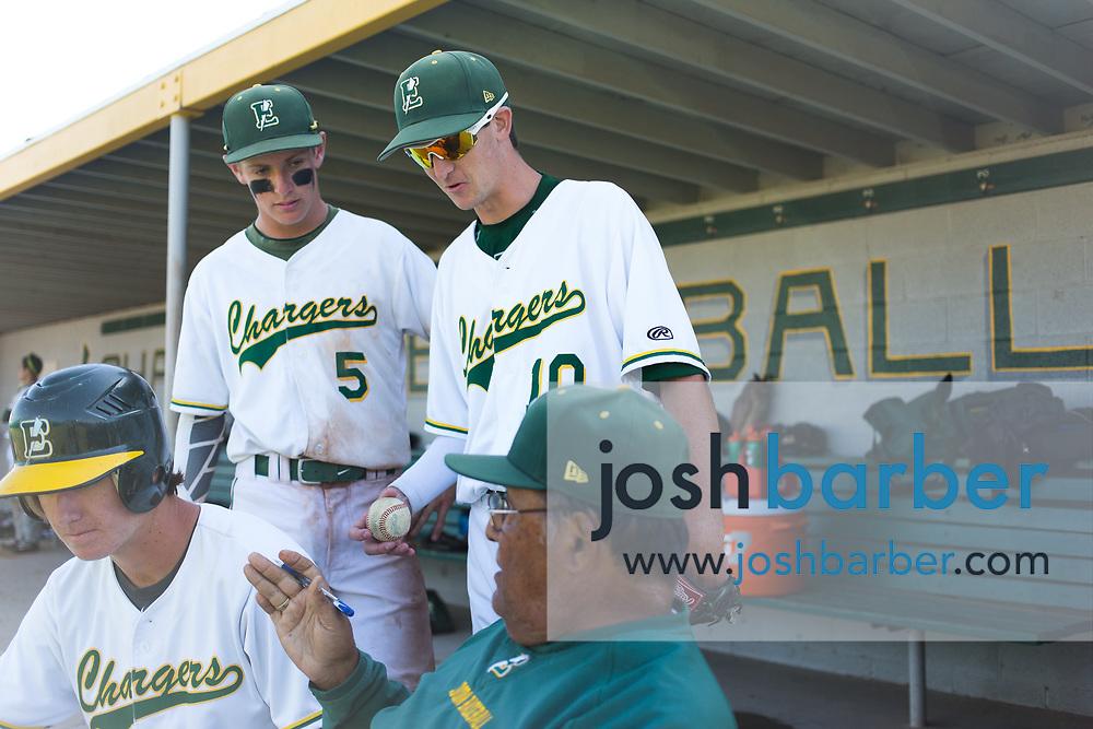 Edison's Ted Burton (5) and Edison's Nolan Funke (10) at Edison High School on Tuesday, May 23, 2017 in Huntington Beach, California. (Photo/Josh Barber)