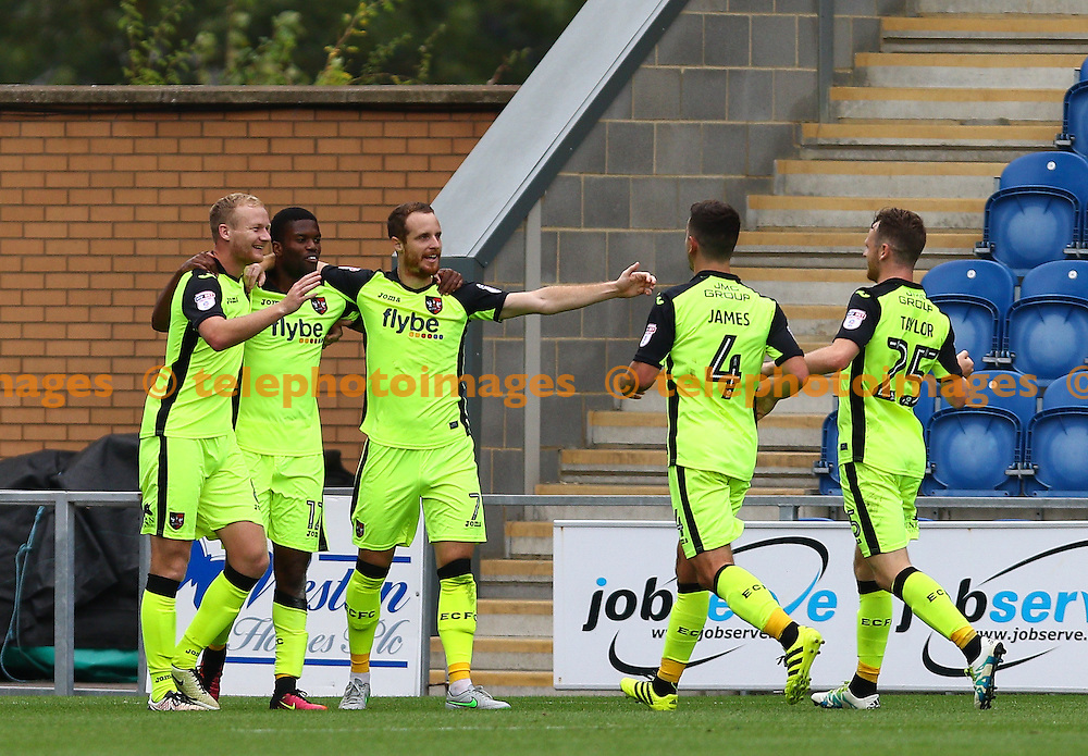 Joel Grant of Exeter City celebrates scoring the winner during the Sky Bet League 2 match between Colchester United and Exeter City at the Weston Homes Community Stadium in Colchester. September 3, 2016.<br /> Arron Gent / Telephoto Images<br /> +44 7967 642437