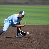 Goddard short stop Gabriel Campos fields a grounder against the Miyamura Patriots Tuesday morning in Gallup.