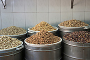 Nut roasting plant freshly roasted nuts at the end of the roasting process before packing