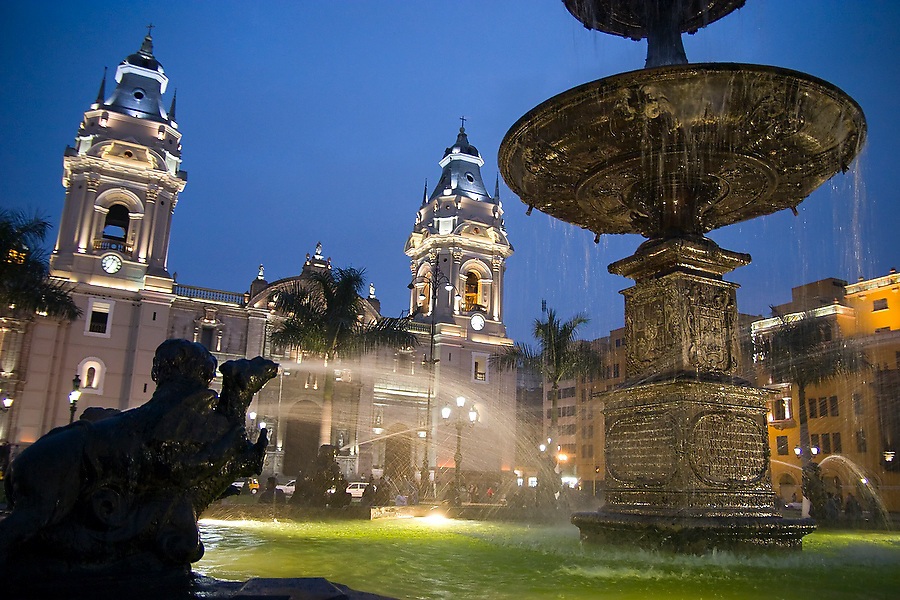 View of the Cathedral from the fountain in the center of the Plaza de Armas in Lima, Peru on August 27, 2005.