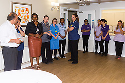 Care UK's Franklin House care home in West Drayton, London, has been awarded a Two Years Pressure Prevention Award from North West London NHS Foundation, in collaboration with Hillingdon TVN Team and Hillingdon CCG. Home Manager Matthew V Matthew addresses members of the Franklin House team after receiving the award. London, July 11 2019.