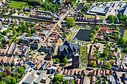 Nederland, Friesland, Gemeente Sudwest-Fryslan, 07-05-201807-05-2018. Workum met Grote of Sint-Gertrudiskerk. Naast de kerk de Waag. Een van de elf Friese steden.<br /> Small town with monumental church in Frisian countryside.<br /> luchtfoto (toeslag), aerial photo (additional fee required); copyright foto/photo Siebe Swart