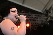 The Gossip featuring singer Beth Ditto, guitarist Brace Paine and drummer Hannah Blilie performs during the second day of the 2010 Bonnaroo Music & Arts Festival on June 10, 2010 in Manchester, Tennessee. The four-day music festival features a variety of musical acts, arts and comedians..Photo by Bryan Rinnert/3Sight Photography