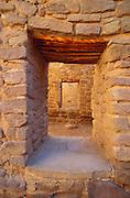 Interior doorways in the West Pueblo, Aztec Ruins National Monument, New Mexico USA