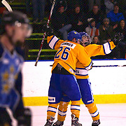 Max Macharg celebrates after scoring for Southern Stampede with team mate Michael Sommer (26) during the Southern Stampede V West Auckland Admirals New Zealand Ice Hockey League match at the Queenstown Ice Arena, Queenstown, South Island, New Zealand, 4th June 2011