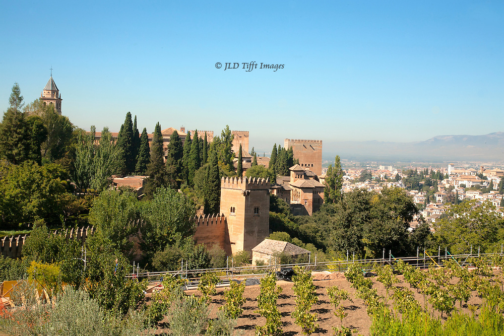 View of the ALhambra fortress from the Generalife gardens  Grenada city beyond.