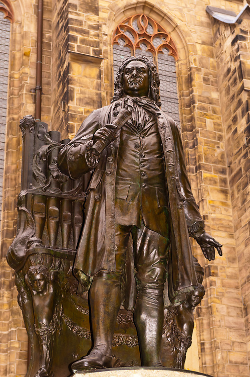 Johann Sebastian Bach's statue, St. Thomas Church (Thomaskirche), Leipzig, Saxony, Germany