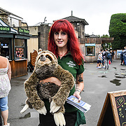 Sonya is a zookeeper at the Annual weigh in at ZSL London Zoo on 23 August 2018, London, UK