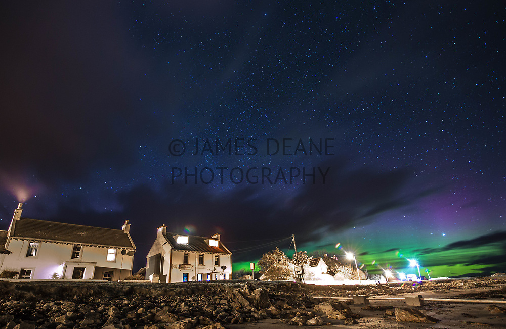 A particularly strong Aurora on a cloudy Night. I was able to take advantage of a break in the clouds to get this image. Bruichladdich Minimarket (known as Debbies) is centre-left, and Ceol na Mara (my home since 2016) is on the left