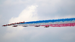 © Licensed to London News Pictures. 11/06/2016. Red arrows fly over London for the Queen's 90th birthday celebrations. Credit: Rob Powell/LNP