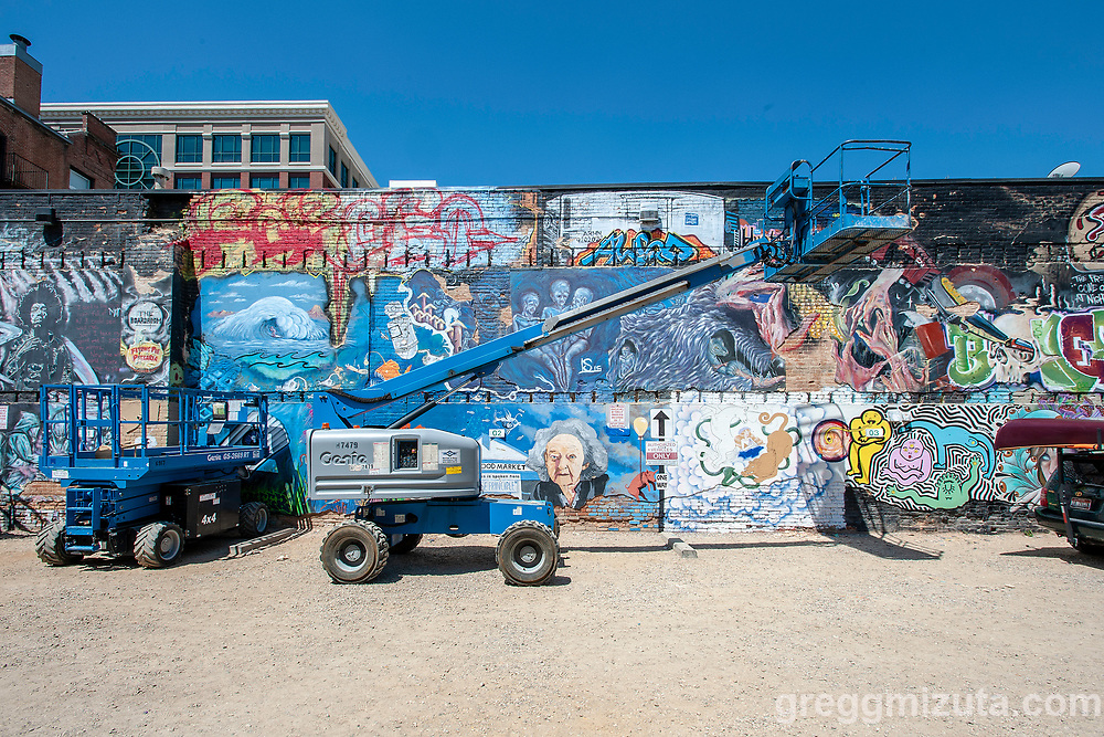 """Freak Alley Gallery eight annual mural event in downtown Boise, Idaho on August 5, 2018. <br /> <br /> Freak Alley Gallery's week long event provided an """"art-in-motion"""" experience as it welcomed the public to watch artists work on their murals."""
