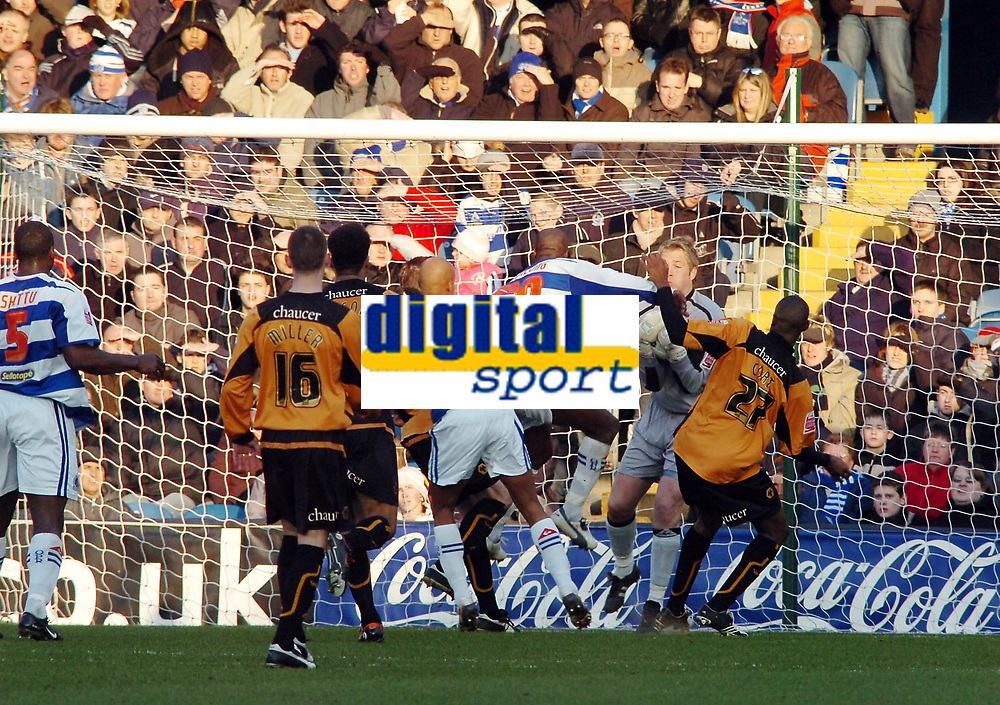 Photo: Kevin Poolman.<br />Queens Park Rangers v Wolverhampton Wanderers. Coca Cola Championship. 04/03/2006. <br />Wolves' keeper Stefan Postma makes a good save from Paul Furlong.