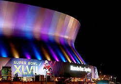 31 Jan 2013. New Orleans, Louisiana USA. .The Mercedes Benz Superdome, home of the New Orleans Saints plays host to the XLVII (47th) Annual Super Bowl with the Baltimore Ravens against the San Francisco 49'ers.. With just days to go, NFL branding has taken over the downtown icon as they prepare for the big game..Photo; Charlie Varley