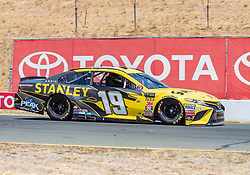 June 22, 2018 - Sonoma, CA, U.S. - SONOMA, CA - JUNE 22:  Daniel Suarez, driving the #(19) Toyota for Joe Gibbs Racing heads down the stretch to turn 9 on Friday, June 22, 2018 at the Toyota/Save Mart 350 Practice day at Sonoma Raceway, Sonoma, CA (Photo by Douglas Stringer/Icon Sportswire) (Credit Image: © Douglas Stringer/Icon SMI via ZUMA Press)