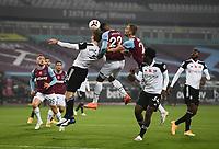 Football - 2020 /2021Premier League - West Ham United vs Fulham - The London Stadium<br /> <br /> West Ham United's Sebastien Haller battles with Fulham's Joachim Andersen.<br /> <br /> COLORSPORT/ASHLEY WESTERN