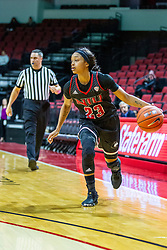 NORMAL, IL - November 20:  Referee Kalei Enterline brings up the rear while Myia Starks looks for a play during a college women's basketball game between the ISU Redbirds and the Huskies of Northern Illinois November 20 2019 at Redbird Arena in Normal, IL. (Photo by Alan Look)