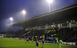 General views as heavy rain pours inside the stadium- Mandatory by-line: Nizaam Jones/JMP - 14/11/2020 - FOOTBALL - innocent New Lawn Stadium - Nailsworth, England - Forest Green Rovers v Mansfield Town - Sky Bet League Two