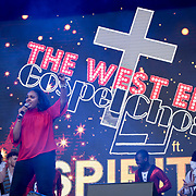 The West End Gospel Choir featuring Spirit Young Performers on stage at West End Live on June 16 2018  in Trafalgar Square, London.