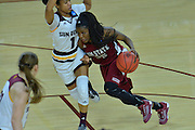 March 18, 2016; Tempe, Ariz;  New Mexico State Aggies guard Moriah Mack (35) tries to drive past Arizona State Sun Devils guard Arnecia Hawkins (1) during a game between No. 2 Arizona State Sun Devils and No. 15 New Mexico State Aggies in the first round of the 2016 NCAA Division I Women's Basketball Championship in Tempe, Ariz. The Sun Devils defeated the Aggies 74-52.
