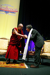 17 May 2013. New Orleans, Louisiana,  USA..Dr Richard Davidson of Tulane University receives a Kata, a Tibetan cloth from His Holiness the 14th Dalai Lama in New Orleans for the 'Resiliance - Strength through Compassion and Connection' conference. .Photo; Charlie Varley.